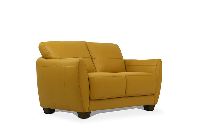 Acme Valeria Yellow Leather Finish Contemporary Loveseat