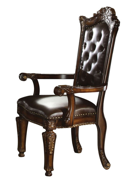 Acme Vendome Traditional Cherry PU Leather Arm Chair