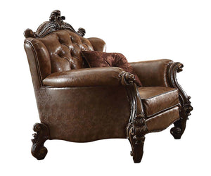Acme Versailles Light Brown PU Cherry Oak Chair With Pillows