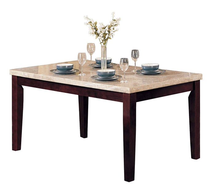 Acme 17058 Britney White Faux Marble Walnut Dining Table