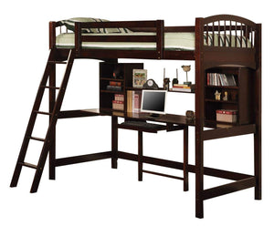 Homy Living Cappuccino Wood Finish Twin Workstation Loft Bed