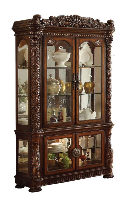 Acme Vendome Cherry Wood And Glass Finish Curio Cabinet