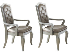 Load image into Gallery viewer, Acme Francesca Champagne PU Leather And Wood Finish 2 Piece Dining Arm Chair