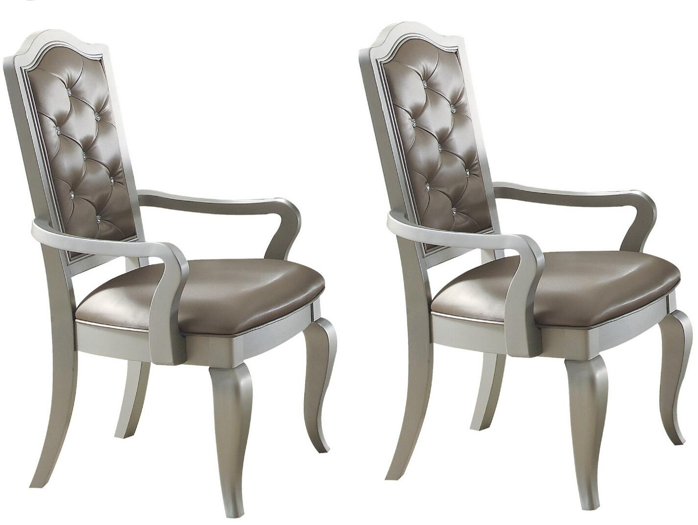 Acme Francesca Champagne PU Leather And Wood Finish 2 Piece Dining Arm Chair