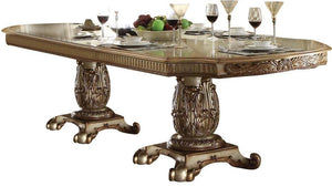 Acme Vendome Gold Patina Double Pedestal Dining Table