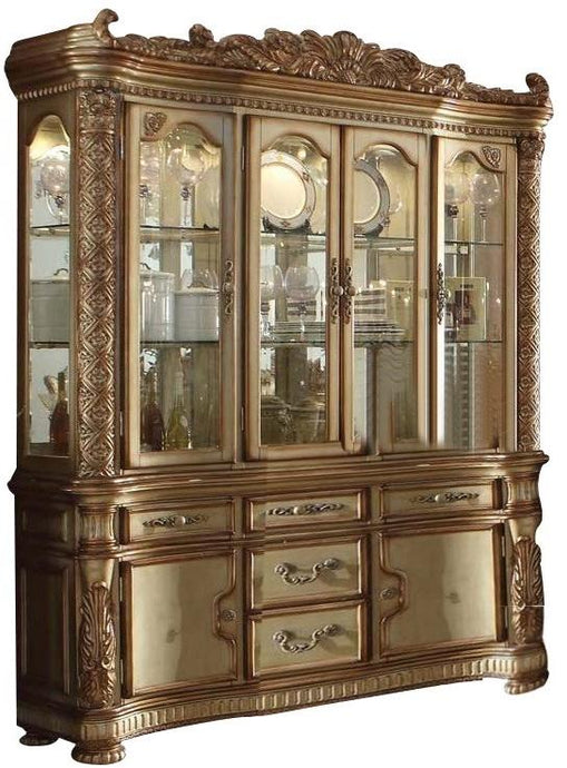 Acme Vendome Gold Patina Wood And Glass Finish China Cabinet