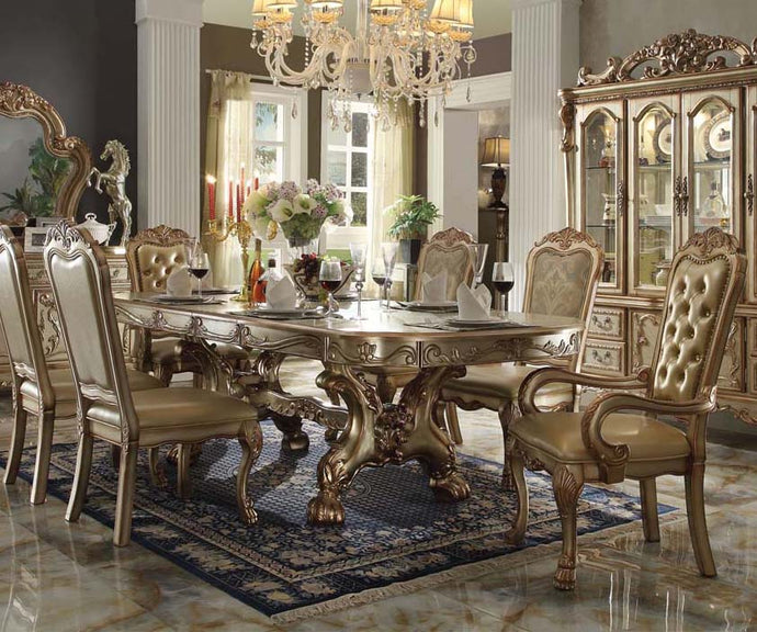 Acme 63150 Dresden 9 Pieces Gold Patina Pedestal Dining Table Set Leaves