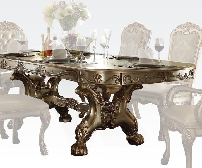 Acme 63150 Dresden Gold Patina Double Pedestal Dining Table