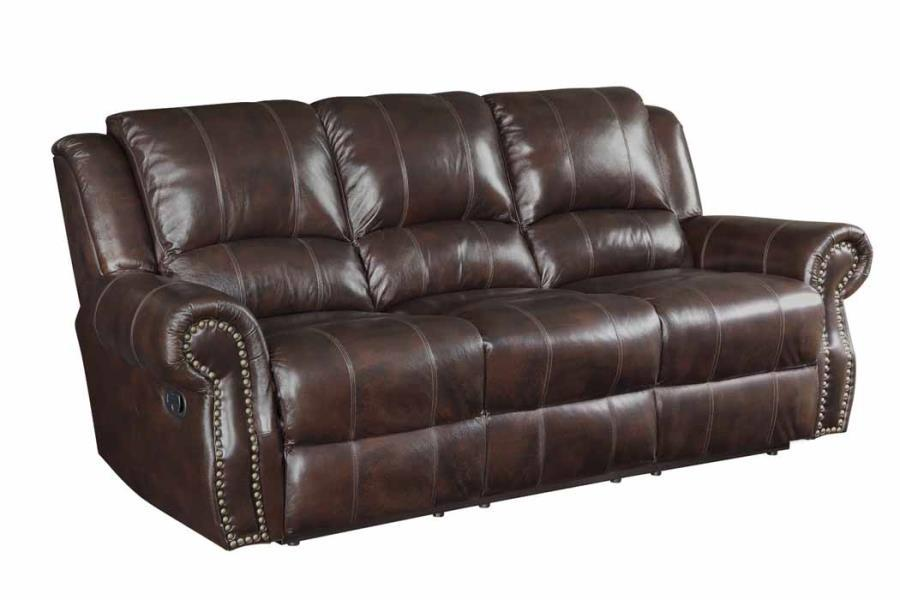 Homy Living Sir Rawlinson Brown Leather Finish Recliner Sofa