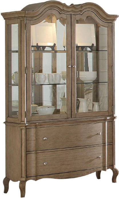 Acme 66054 Chelmsford Antique Taupe Buffet Hucth China Cabinet