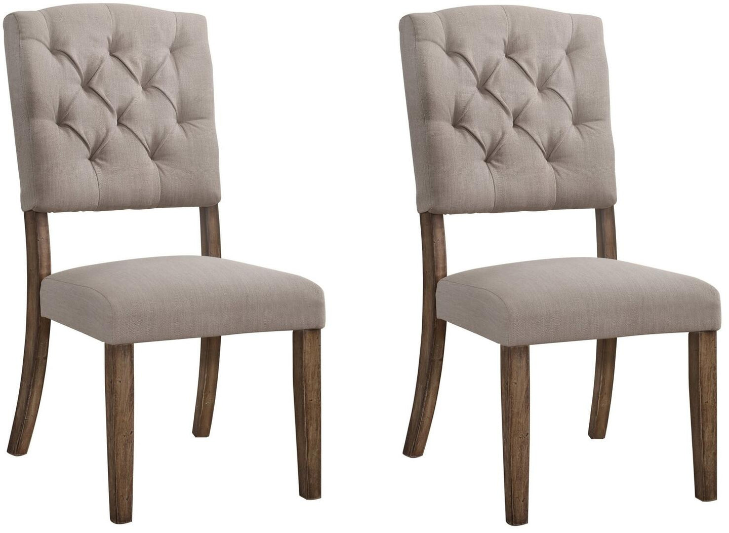 Acme Bernard Beige Fabric Finish Dining Side Chair Set of 2