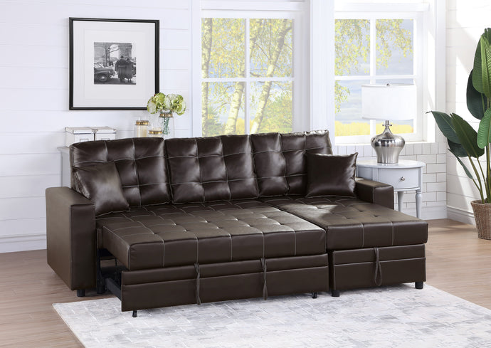 Poundex Espresso Faux Leather Finish 2 Piece Sectional Sofa With Sleeper