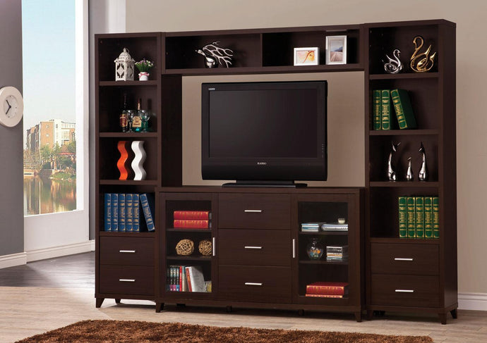 Cappuccino Wood Finish Media Entertainment Center Set