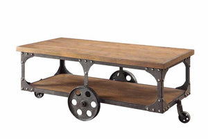 Brown Wood Finish Traditional Coffee Table With Shelf