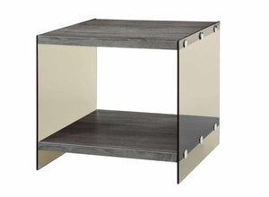Grey End Table With Glass Sides