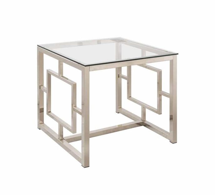 Coaster Satin Plated Metal Glass Top End Table