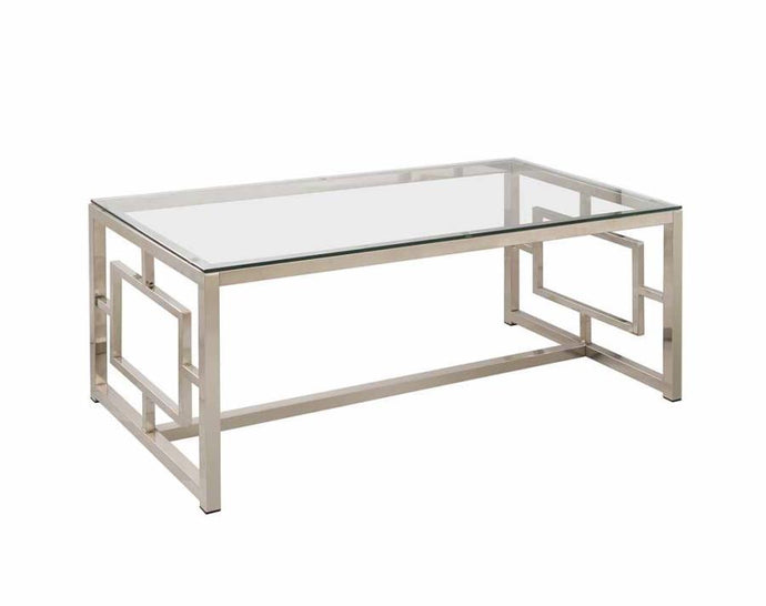 Satin Plated Metal Glass Top Coffee Table