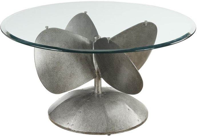 Aged Metal 10 mm Tempered Beveled Glass Top Coffee Table