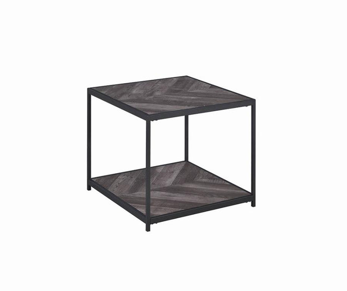 Coaster Rustic Gray Wood And Metal Finish End Table