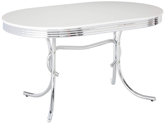 Coaster Chrome Plated Oval Retro White Finish Top Dining Table
