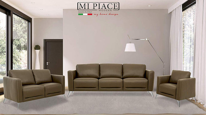 Acme Malaga Taupe Leather Finish Vintage 3 Piece Sofa Set