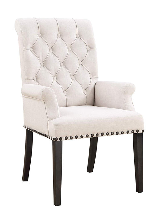 Homy Living Phelps Beige And Black Fabric Finish 2 Piece Arm Dining Chair