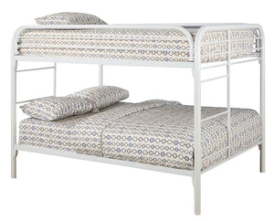Coaster Fordham White Metal Full Full Bunk Bed with Built in Ladders