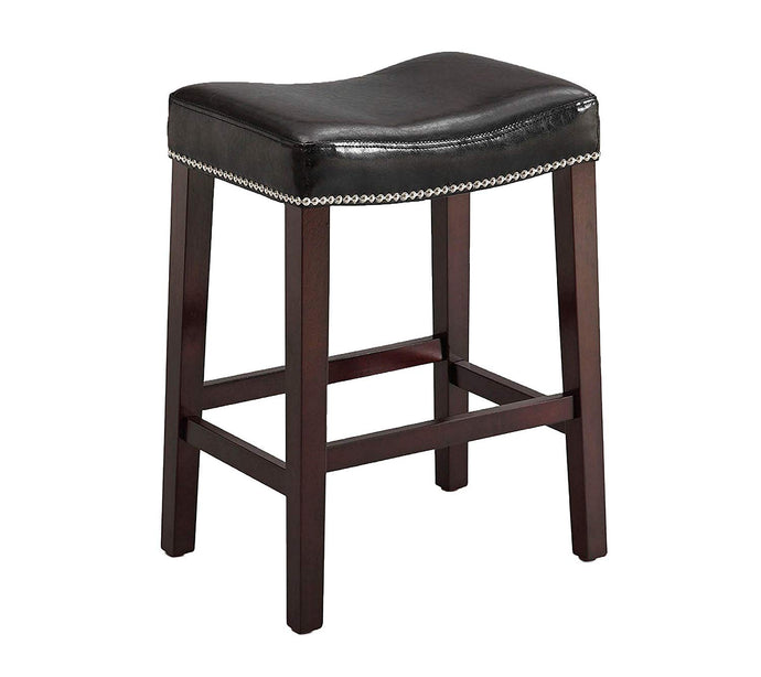 Acme Lewis Espresso Finish Black PU Counter Height Stool