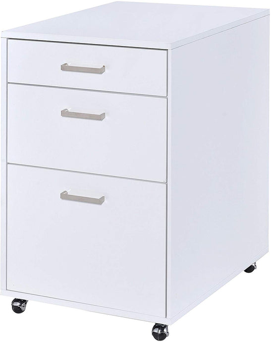 Acme Coleen White High Gloss Chrome Finish File Cabinet