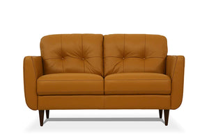Acme Radwan Orange Leather Finish Loveseat