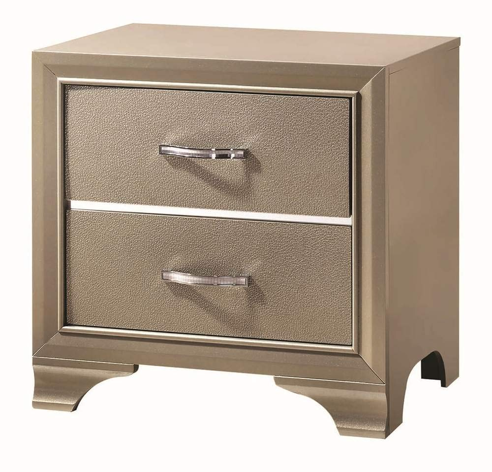 Coaster Beaumont Champagne Gold Leatherette Nightstand