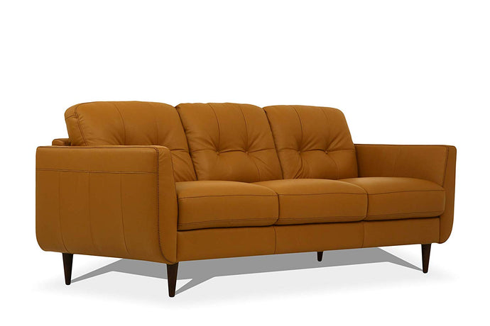 Acme Radwan Orange Leather Finish Sofa