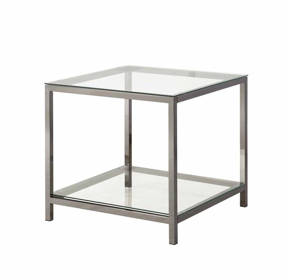 Coaster Black Nickel End Table with Shelf