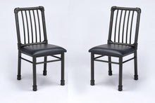 Load image into Gallery viewer, Acme Caitlin Rustic Oak Black Metal Finish 2 Piece Dining Chair