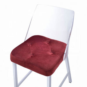 Acme Nadie II Burgandy Acrylic Finish 2 Piece Bar Stool