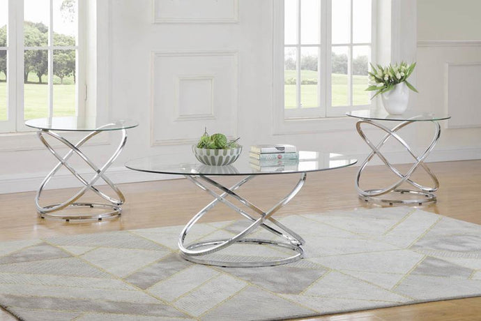 Coaster Chrome And Glass Top Finish 3 Piece Coffee Table Set