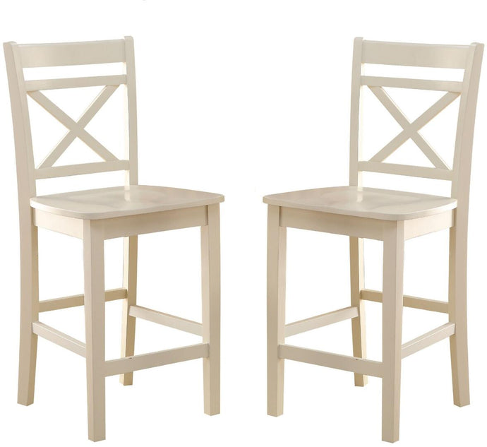 Acme Tartys Cream Wood Finish 2 Piece Counter Height Chair