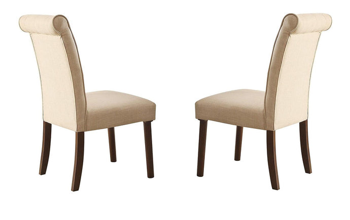 Acme Gasha Beige Linen And Wood Finish 2 Piece Dining Chair