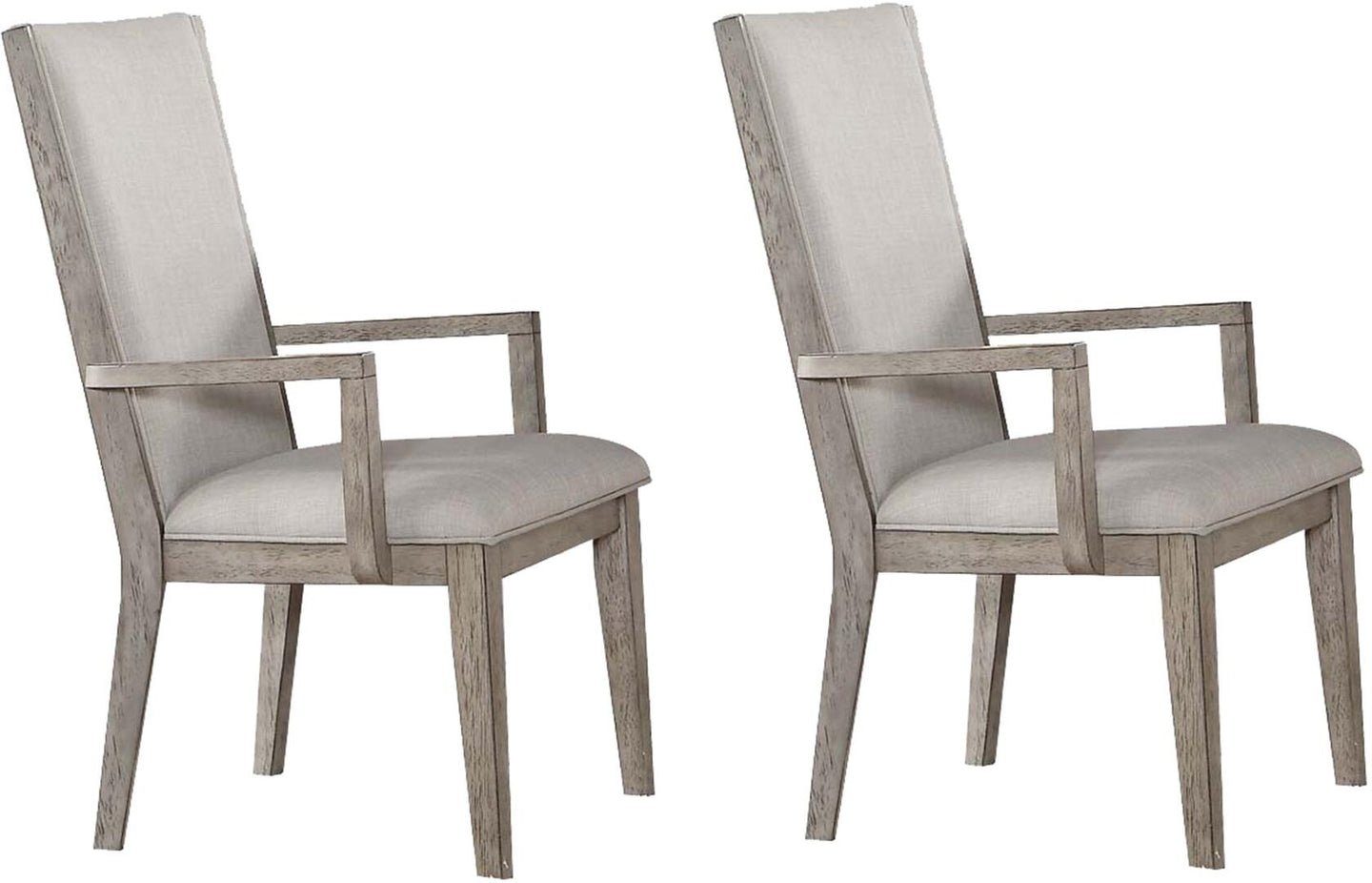 Acme Rocky Gray Oak Wood Finish 2 Piece Dining Arm Chair
