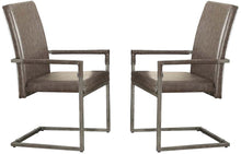 Load image into Gallery viewer, Acme Lazarus Vintage Gray PU Leather And Metal Finish 2 Piece Dining Arm Chair