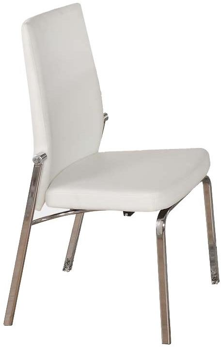 Acme Osias White PU Leather And Chrome Finish 2 Piece Dining Chair