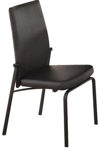 Acme Osias Black PU Leather And Metal Finish 2 Piece Dining Chair
