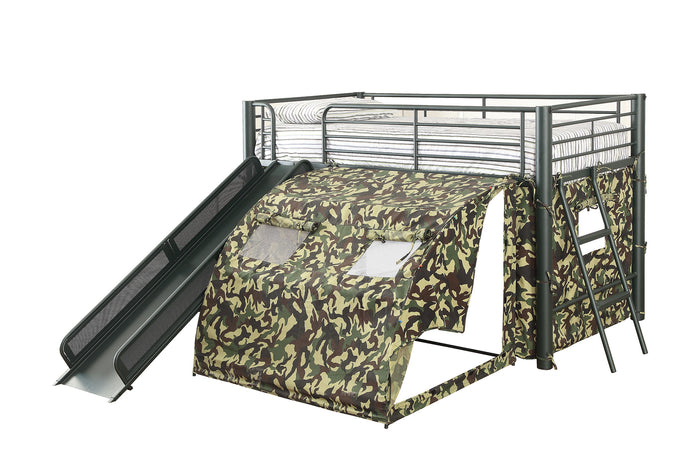 Oates Black Twin Loft Bed with Slide and Camouflage Tent