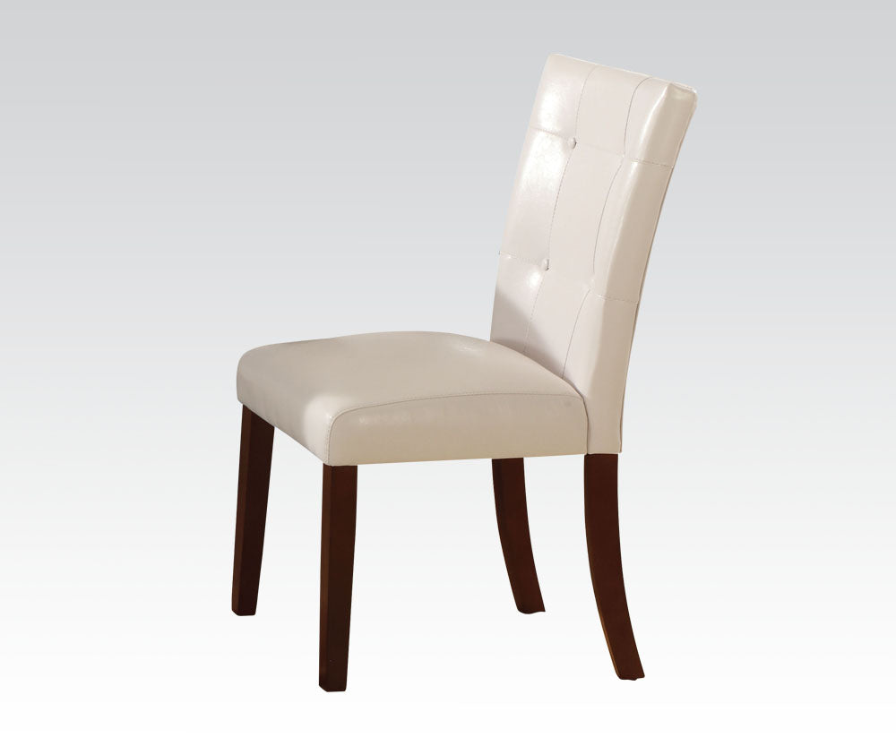Acme Britney White And Walnut PU Leather Finish 2 Piece Dining Chair