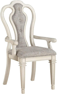 Acme Kayley Weather Oak Wood Finish 2 Piece Dining Arm Chair