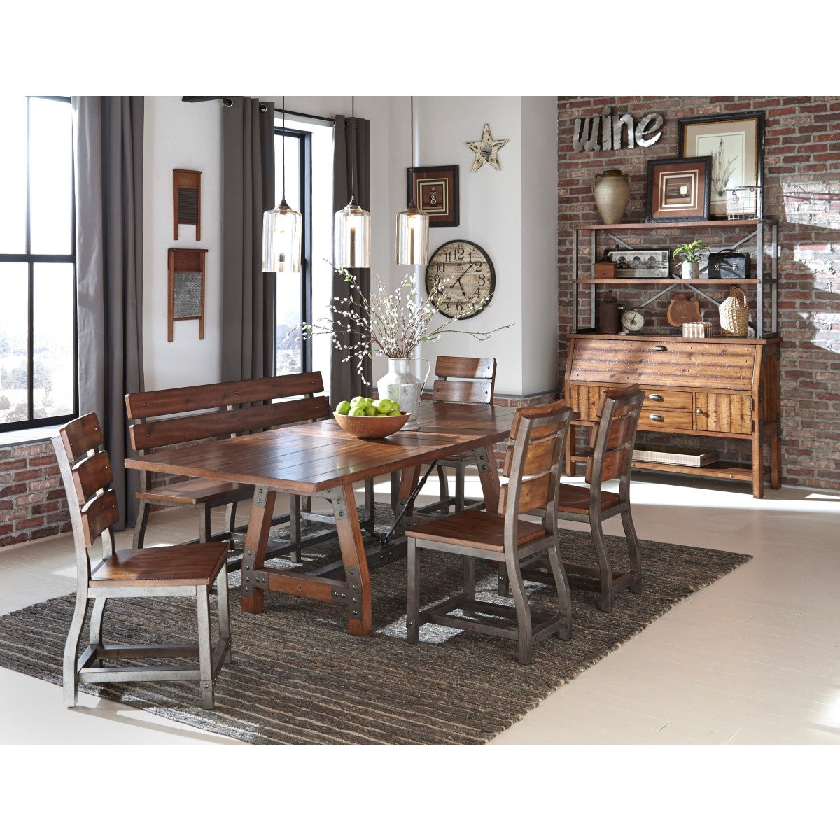 Homelegance Holverson Brown Wood And Metal Finish 6 Piece Dining Table Set