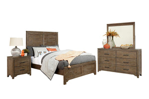 Homelegance Lyer Brown Wood Finish 4 Piece California King Bedroom Set