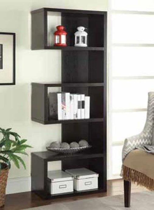 Cappuccino Bookcase with Staggered Shelves