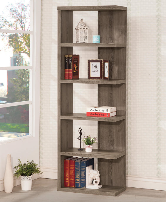 Weathered Grey Semi Backless Bookcase