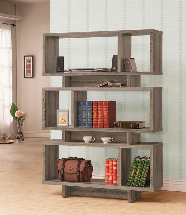 Contemporary Weathered Grey Open Bookcase